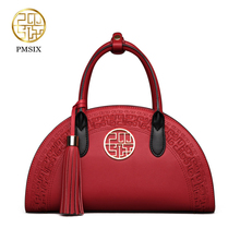 PMSIX 2017 New vintage Cow Leather Handbags Chinese Style Shoulder Bag Red/Black Embroidery Wedding Fashion Tote Bags P120024(China)