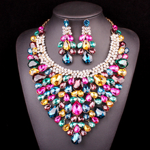 NEW Gorgeous Indian Bridal Jewelry Sets Wedding Necklace Earrings set For Brides Party Costume Decoration supplies for jewelry(China)
