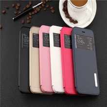BINYEAE for iPhone5/6/7 plus Double View Windows PU Leather Stand Cover Mobile Phone Stand Series Bag Case Cover Shell S024
