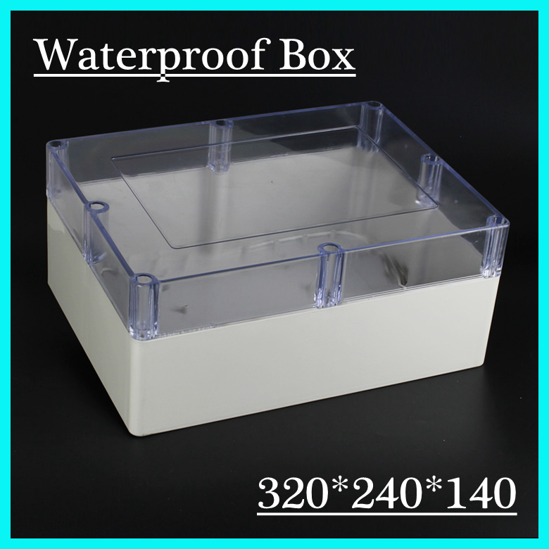(1 piece/lot) 320*240*140mm Clear ABS Plastic IP65 Waterproof Enclosure PVC Junction Box Electronic Project Instrument Case<br>
