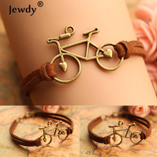Jewdy jewelry vintage leather rope bicycle charm bracelet personal handmade rope chain bike wrap bracelet cuff bangle women