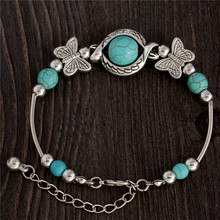 New Tibetan Silver Color Natural Stone Bracelets & Bangles Inlay Butterfly Bead Nation Bohemian Bracelets For Women Fine Jewelry