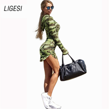 2016 Women Camouflage Army Dress Sexy Sheath Military Dress Long Sleeve One-piece Slim Dress Bodycon Vestidos Femininos Casual