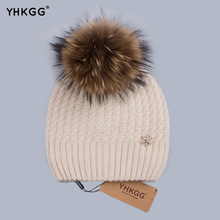 YHGGG Cashmere Warm Hat With Crystal Snowflake Decoration 2016 Really Big Raccoon Fur Hat Pom Wool Fox Hat For Ladies H007