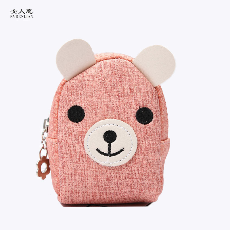 cartoon women coin purses mini small leather wallets elephant bear rabbit deer card holders key headset money bags for girls(China (Mainland))