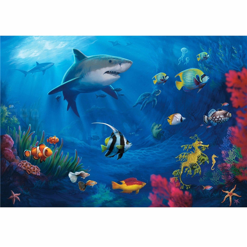 7x5ft Vinyl Photography Background Fish Shark Undersea World For Studio Photo Props Photographic Backdrops Cloth 2.1mx1.5m<br><br>Aliexpress