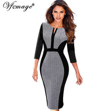 Vfemage Women Retro Contrast Patchwork Zipper Color-Block Wear to Work Business Office Vestidos Bodycon Sheath Female Dress 8995(China)