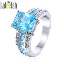 Lateefah Vintage Colorful CZ Birthstone Ring Geometric Green Crystal Cubic Zirconia Women Fashion Jewelry Ring Bague Femme 2018(China)