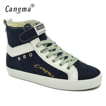 CANGMA Original Brand Ankle Boots Cow Suede Casual Shoes Womens Genuine Leather Sneakers Female Navy Blue Shoes Woman Boots(China)