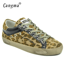 CANGMA Latest Footwear Women Leopard Print Cow Suede Flat Shoes Patent Leather Sneakers Breathable Ladies Yellow Casual Shoes(China)
