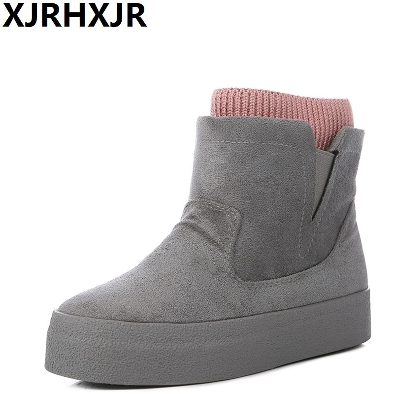 XJRHXJR Winter Boots Botas Mujer 2017 New Women Boots Fashion Flock High-heeled Platform Ankle Up High Heels Spring Autumn Shoes<br>