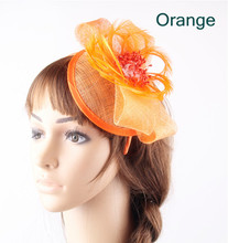 17 Colors sinamay orange bases derby fascinators bow hats on hair bands elegant women fashion feather flower banquet headpiece(China)