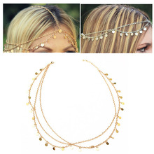Fashion Exotic Boho Headband Bride Wedding Head Chain Accesories Gold Headdress Hair Jewelry Tassel Headdress Jewelry  For Women