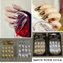 JQ 24 PCS NEW Metallic False Artificial Nails Fashion Stiletto Tips Gold Silver Full Metal French Nail Art Tips 12 Size(China)