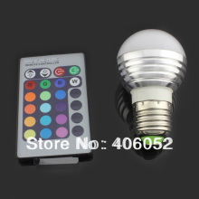 Energy saving+Remote Control 16 Colors Changing rgb led lights ,3W E27 RGB LED lamp,85-265V RGB LED light, free shipping