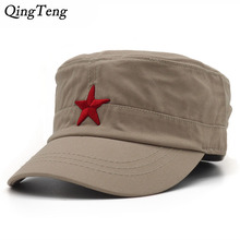Fashion Military Cap Red Star Embroidered Flat Hats Army Cap Outdoor Sun Casual Sports Tactical Caps German Cadet Military Caps(China)
