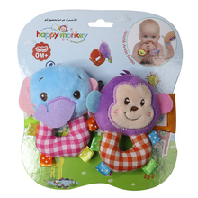 2017 new 2pcs Hot Sale Newborn Baby Rattles Stuffed Toys Anima Wrist Strap Education Toy For Toddlers Baby rattles unisex(China)