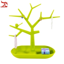 Jewelry Bracelet Necklace Earring Ring Display Stand Organizer Holder Yellow Plastic Tree Jewelry Display Stand(China)