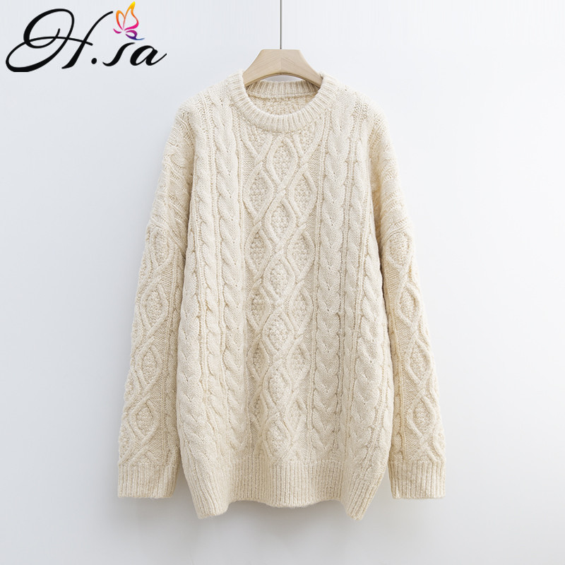 H.SA Women Long Sweaters 2019 Loose Oversized Jumpers Casual Knit Twisted Pullovers Candy Color Female Pullover Sweaters Winter