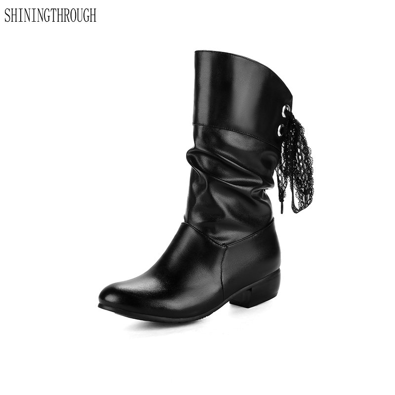 2018 New fashion ankle boots winter boots woman low heels women snow boots lace up shoes woman sweet ladies shoes<br>