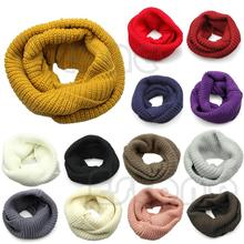 Unisex Warm LARGE Winter Knit Cowl Neck Long Scarf Shawl Infinity 2 Circle Cable -S127