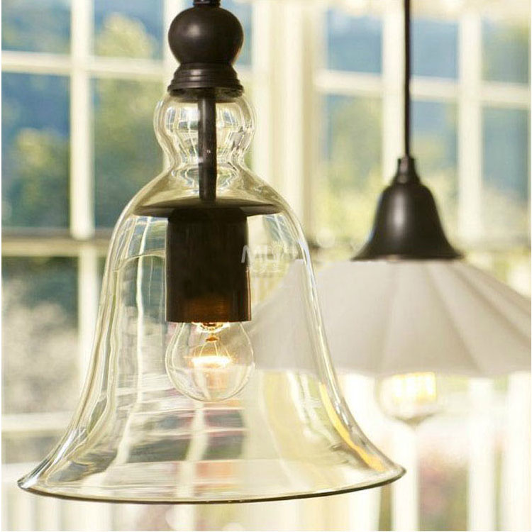 Free shipping Vintage Bell-shaped pendant light retro clear glass pendant lamps brief modern study dining room lighting<br>