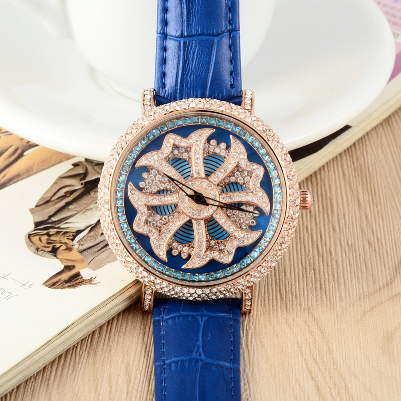 GOOD LUCK Rotating CROSS Women Watches 45MM Big Leather Wristwatch MASHALI Luxury Full Crystals Watch Quartz Relojes W051<br>