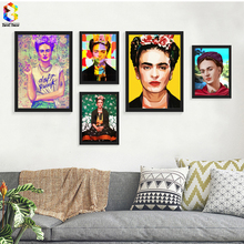 Frida Kahlo Portrait Printing Wall Art Canvas Impressionist Paintings Poster and Print Flower Canvas for Living Room Decor(China)