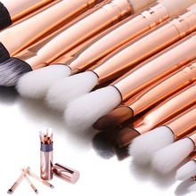 DE'LANCI 12PCS Complete Eye Makeup Brush Set Eyeshadow Eyeliner Blending Pencil Makeup Brushes Rose Golden Handle Aluminum Pot