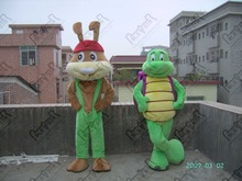 hot sale quality EVA head green pants turtle and bunny mascot costumes cute rabbit costumes tortoise cuckold(China)