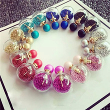 Buy LNRRABC Hot 1 Pair Women Lady Fashion Trendy Charming 7 Colors Thick Glass Beads Double Ball Stud Earrings Gift for $1.07 in AliExpress store