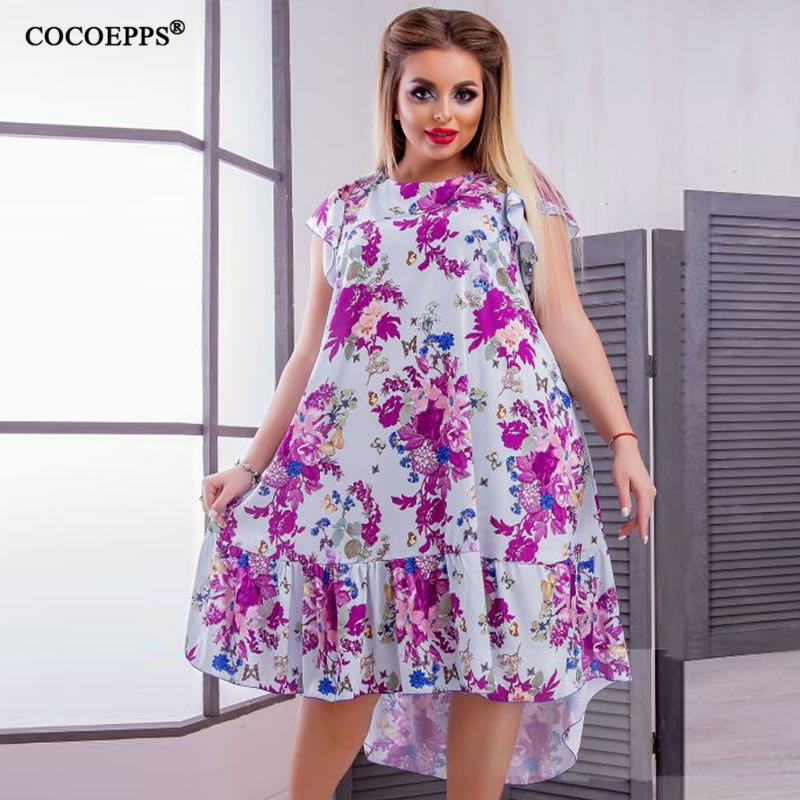 2018 L-6XL Summer Plus Size Women Dress Flower Print Large Size Fashion Dresses Casual Women Clothing Big Sizes Dress Vestidos 42