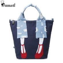 FUNMARDI High Heels Design Canvas Handbag Fashion Cartoon Casual Bag Denim Patchwork Totes New Creative Cross Body Bag WLAM0050(China)