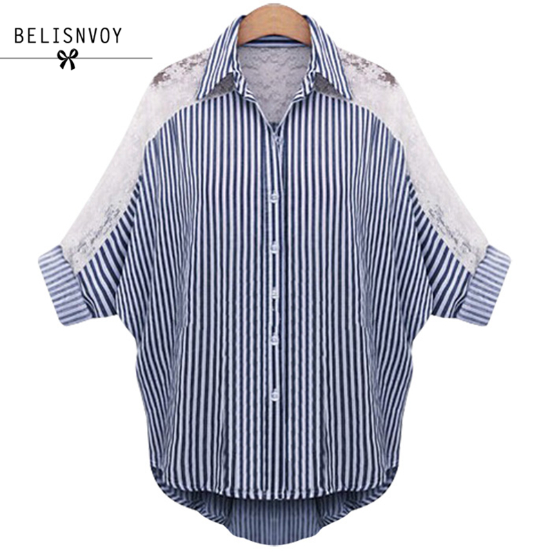 L-5XL 6XL Plus Size Women Clothing 2017 Autumn Blouses Lace Shirt Turn Collar Striped Female Batwing Sleeve Tops Blusas