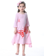 Toddler Girl Fashions Kids Trendy Clothes Long Sleeves Flare Pink Grey Butterfly Pattern Summer Cotton Print Baby Girls Dresses