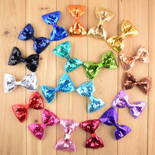 "DHL 240pcs/lot DIY Hair Accessories For little girls 3.5""Embroidery sequin bows for DIY headband boutique bow no clip(China)"