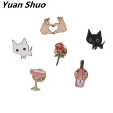 The new fashion Enamel white cat black cat/women rose brooch 2016 free shipping girl badge brooch accessories wholesale(China)
