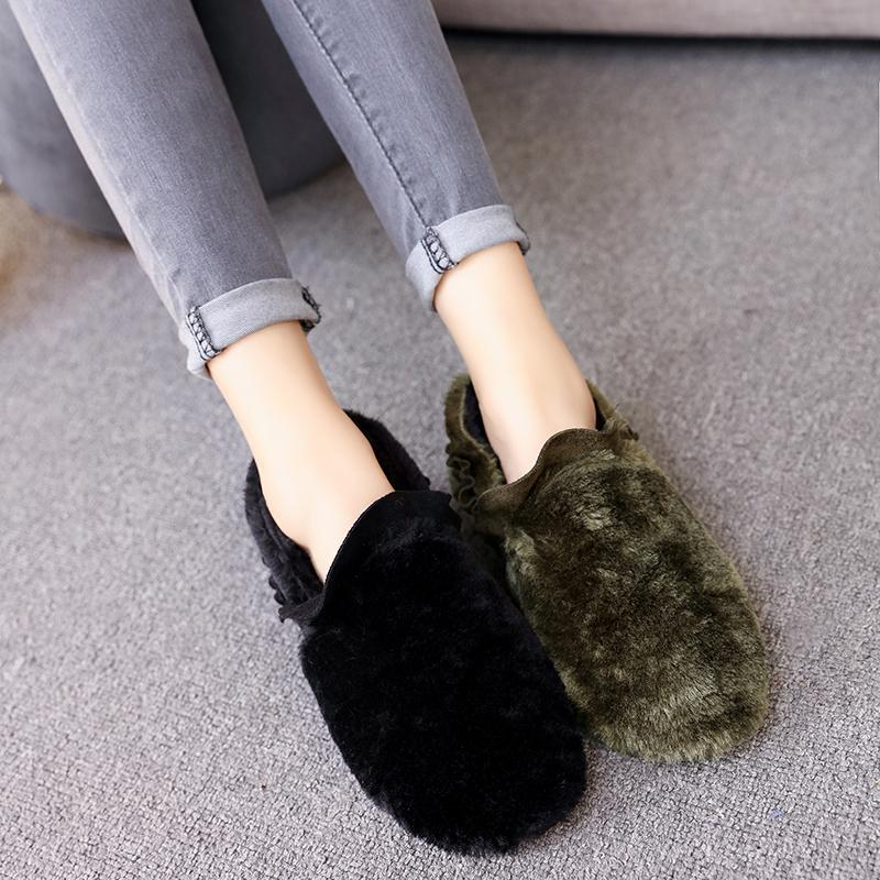 Autumn Peas Casual Mocassins Mujer Fur Shoes Women Flats Ruffles Pleated Loafers Ladies Shoes Winter Padded Winter Shoes Sapatos<br><br>Aliexpress