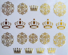 Nail Art Stickers Decal 3D Gold Crown Royal Lady Metallic Design Decoration French Manicure Stamping Foils Tools