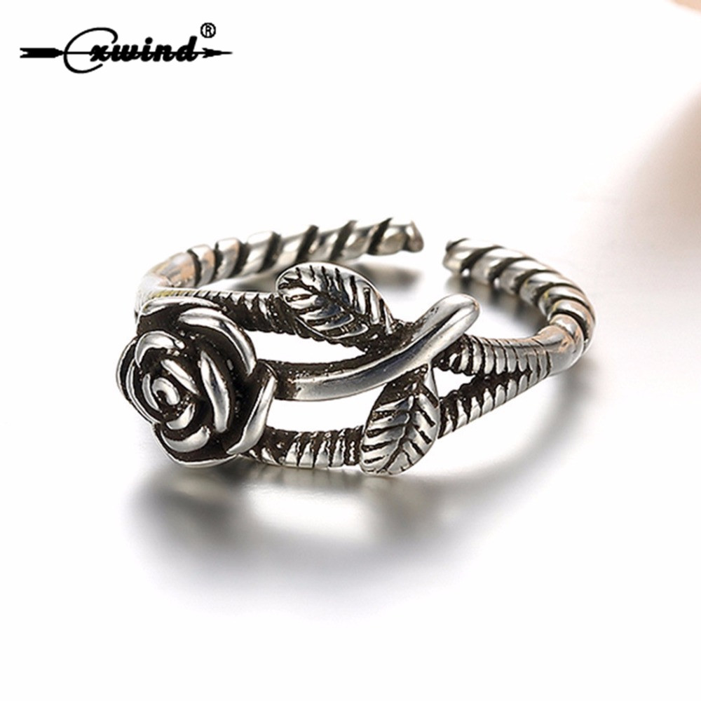 Cxwind Vintage 3D Rose Flower Leaf Open Ring 925 Stamp Cute Twist Finger Silver Plated Rings Jewelry for Women Valentine