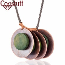 Handmade Wood Jewelry Vintage Women statement necklaces & pendants Leaf Pendant women collares mujer choker kolye bijoux femme(China)