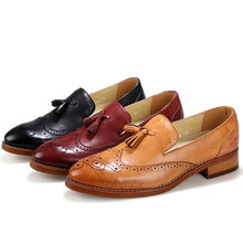 Fringe Men Shoes Casual Pointed Toe Leather Moccasins Men Loafers Slip On