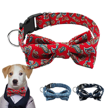 Adjustable Fabric  Bow Tie Dog Collars Flower Print Designer Dog Collar Pet Bows Accessories For Dogs Puppies Neck 14-18.5""