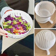 Hot Sale White Salad Bowl Maker Healthy Fresh Salads Made Easy Salad Cutter PVC Bowl Tools ZQ886737