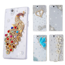 Bling Case Diamond Case for Sony Xperia Z L36H C6602 C6603 Phone Capa Para L36h Fundas Capinhas Clear Crystal Cover Butterfly
