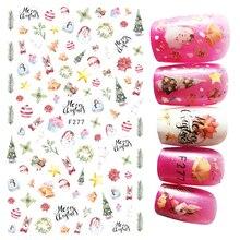 F277 Xmas 3D Design Nails Art Sticker Water Color Santa Christmas Tree Bells Nail Stickers Wraps Foil Sticker Manicure Tips