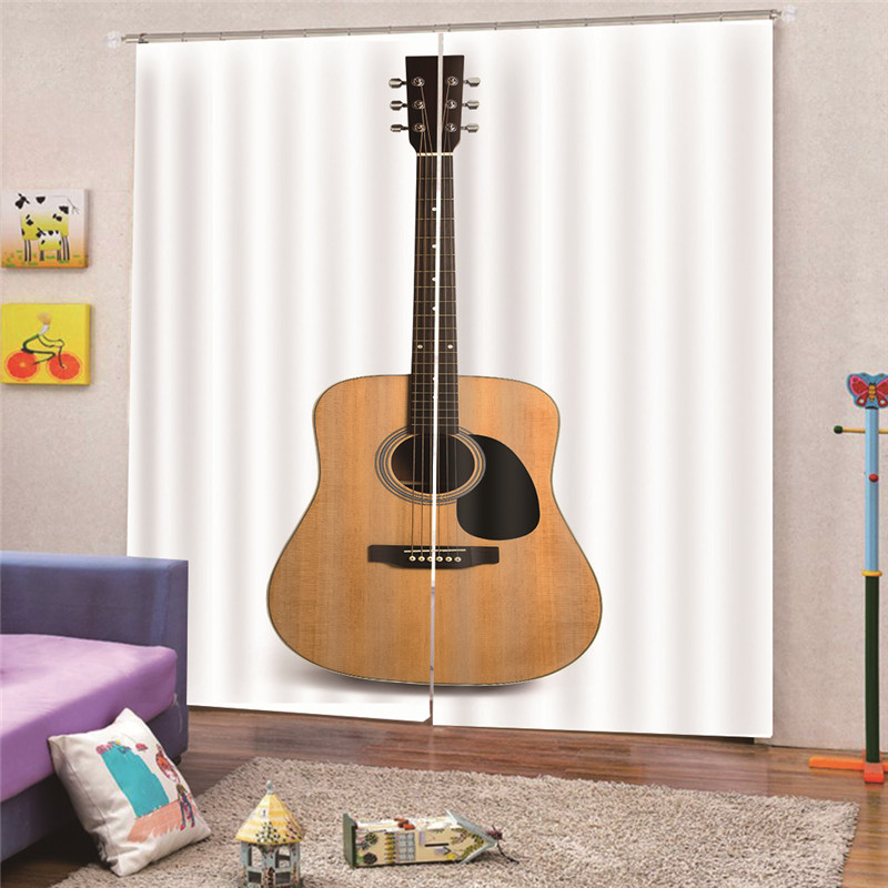 3D Digital Print Guitar Blackout Brief Curtain Buckles Europe Style Curtain Accessories for Living Room Bedroom Decor Draps AP23