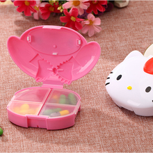 4Slots Cute Cartoon Hello Kitty My Melody Portable Pill Medicine Case Box Plastic Drug Box Storage Case Box B24(China)