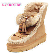 LLOPROST KE Women's Ankle Boots Genuine Sheepskin Leather Snow Boots Natural Fur Wool Warm Winter Boots Tassel Top Quality MY071(China)