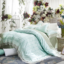 French wedding bedding set satin embroidery lace silk mix cotton luxury duvet cover flat sheet bed linen/ light quilt cover set